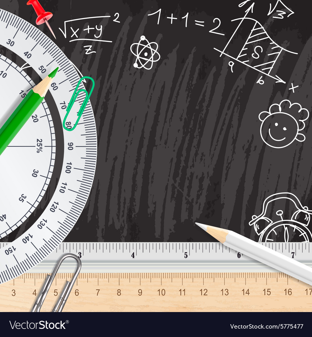 Chalkboard school background with rulers