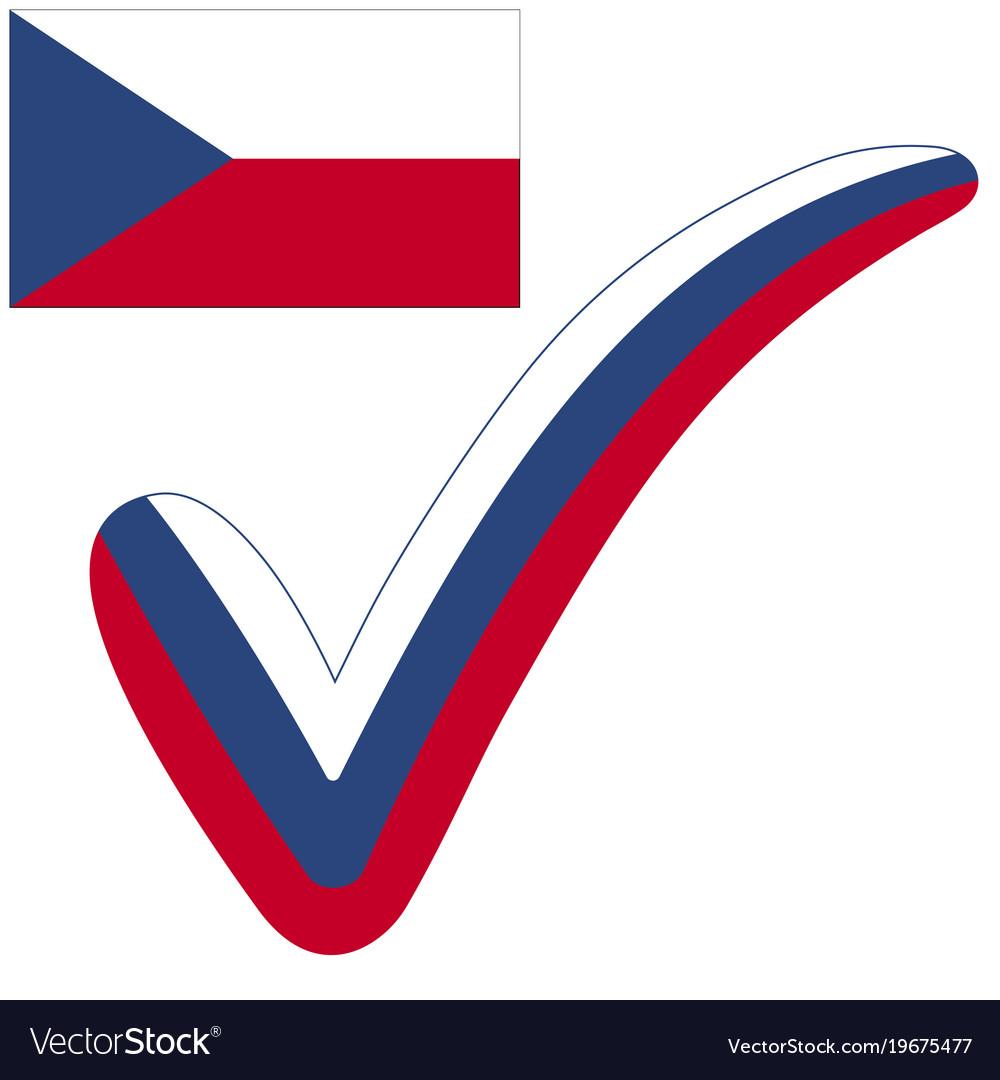 Check Mark Czech Republic Flag Symbol