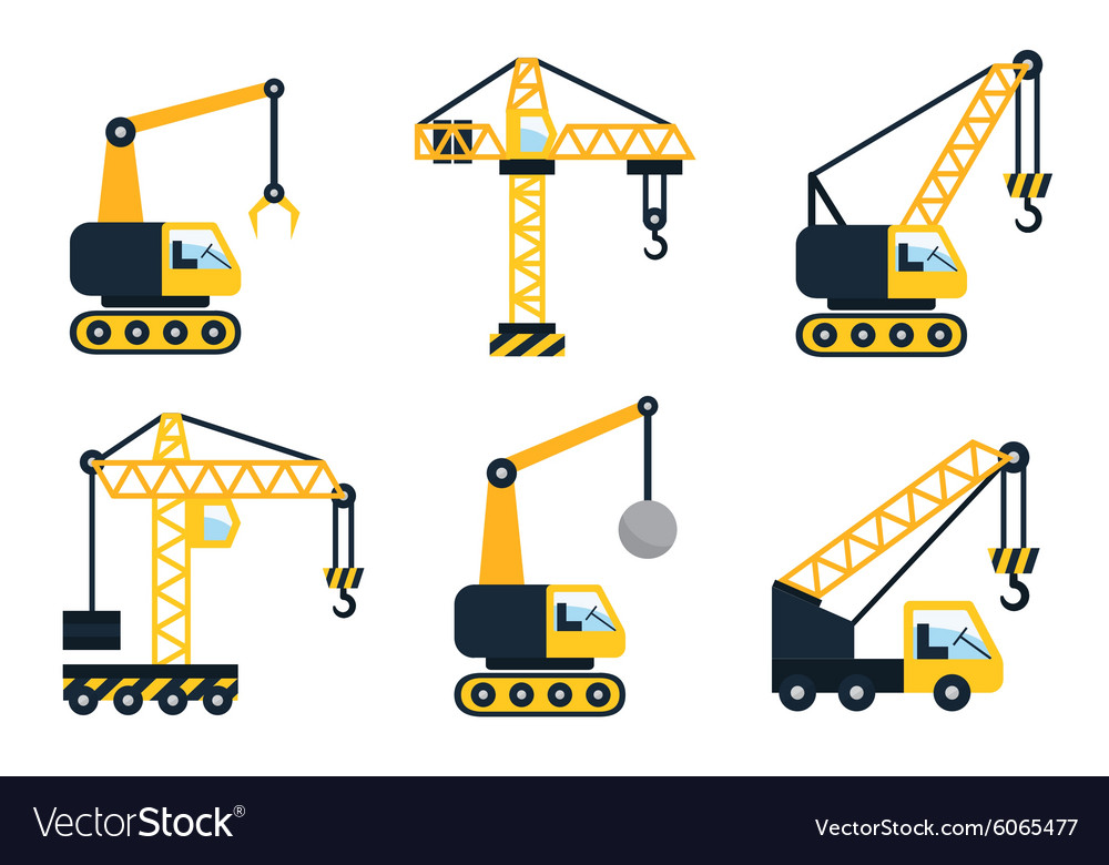 Construction icons Types of cranes Flat