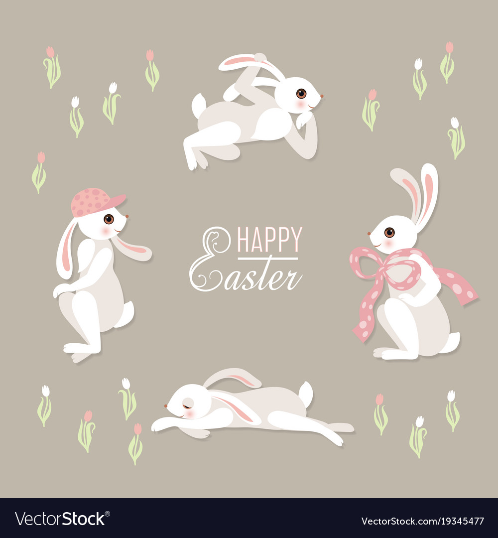 Cute floral card with rabbits