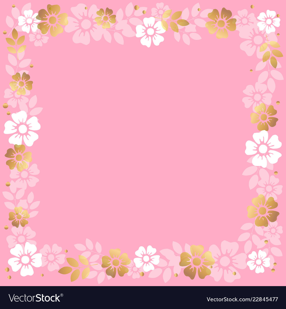Decorative square frame of pink and golden