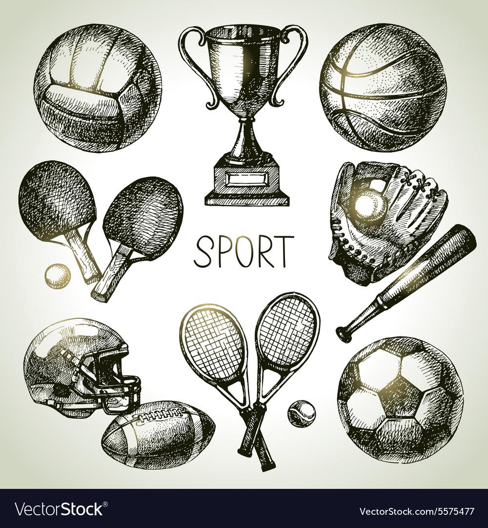 Hand drawn sports set Sketch sport balls