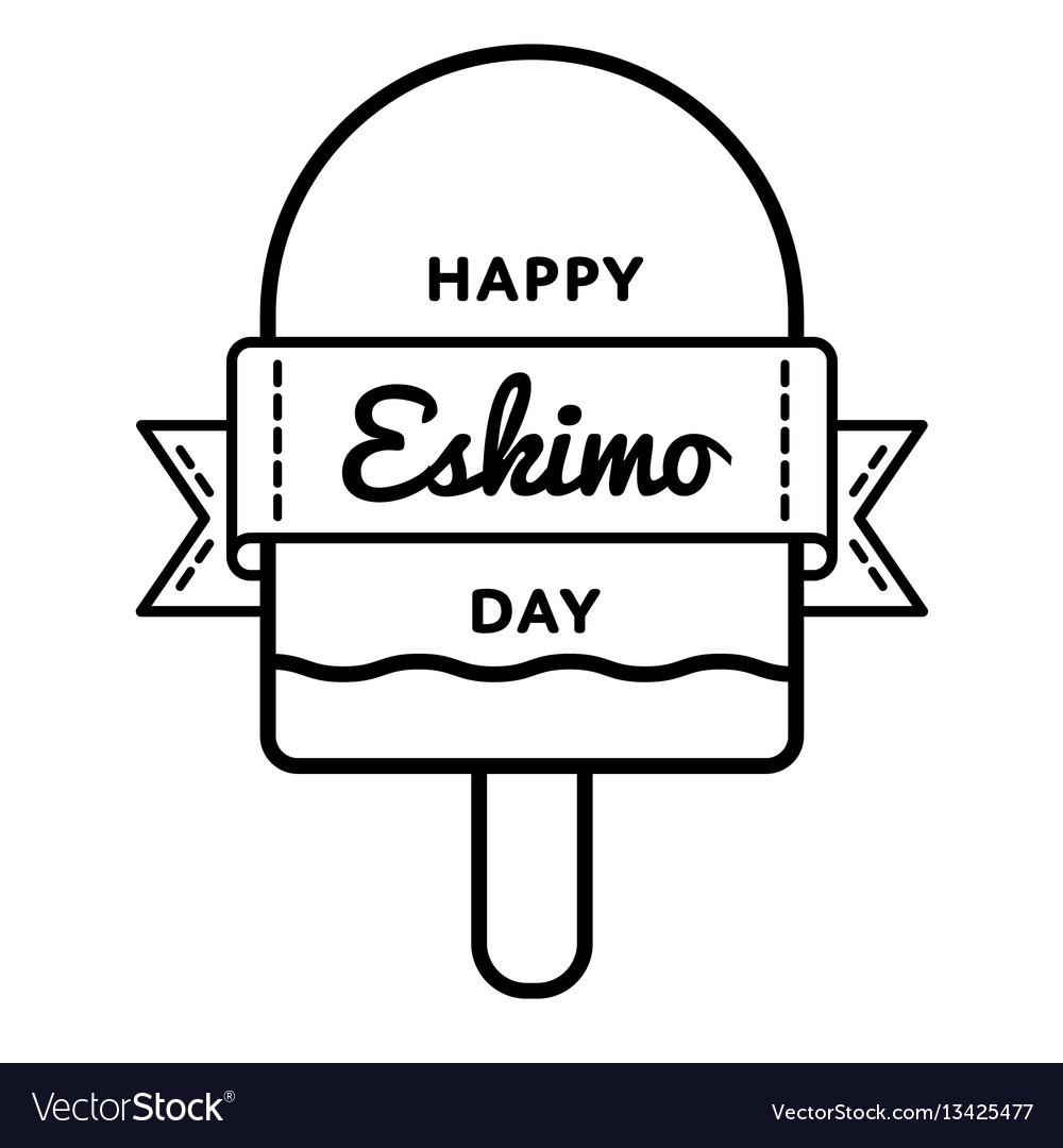 Happy eskimo day greeting emblem vector image