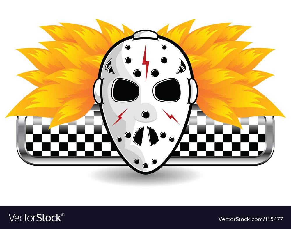 Hockey mask on fire vector image