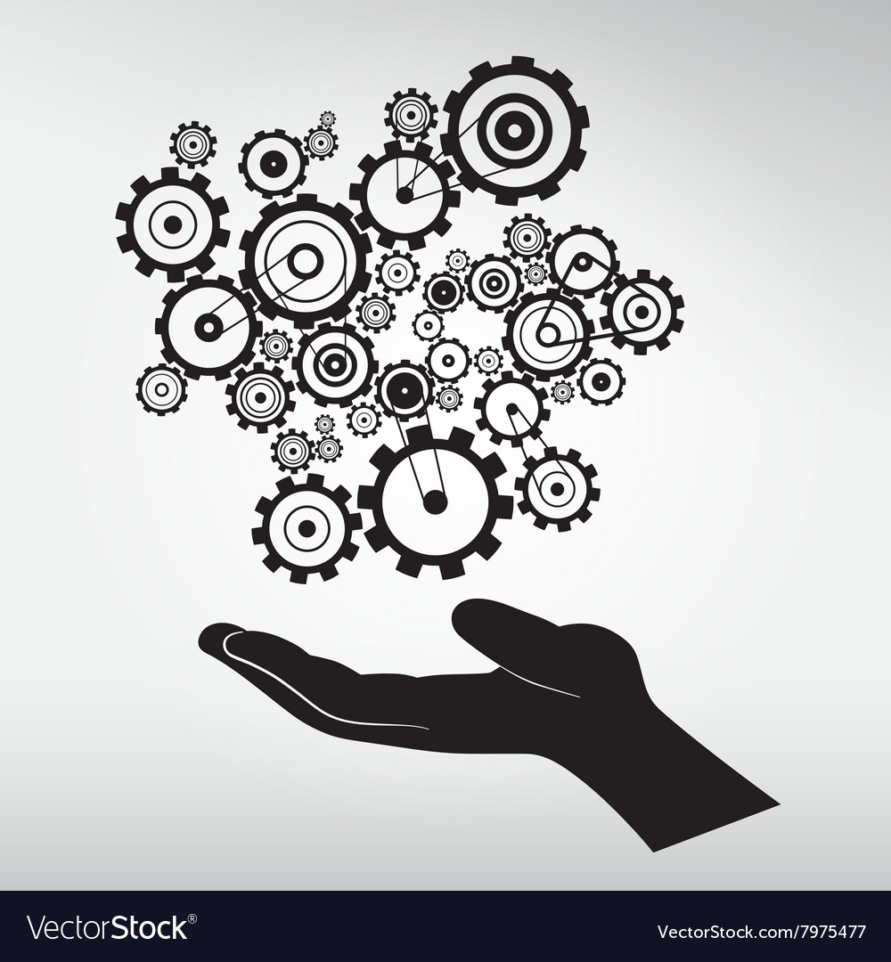 Human Hand with Cogs - Gears vector image