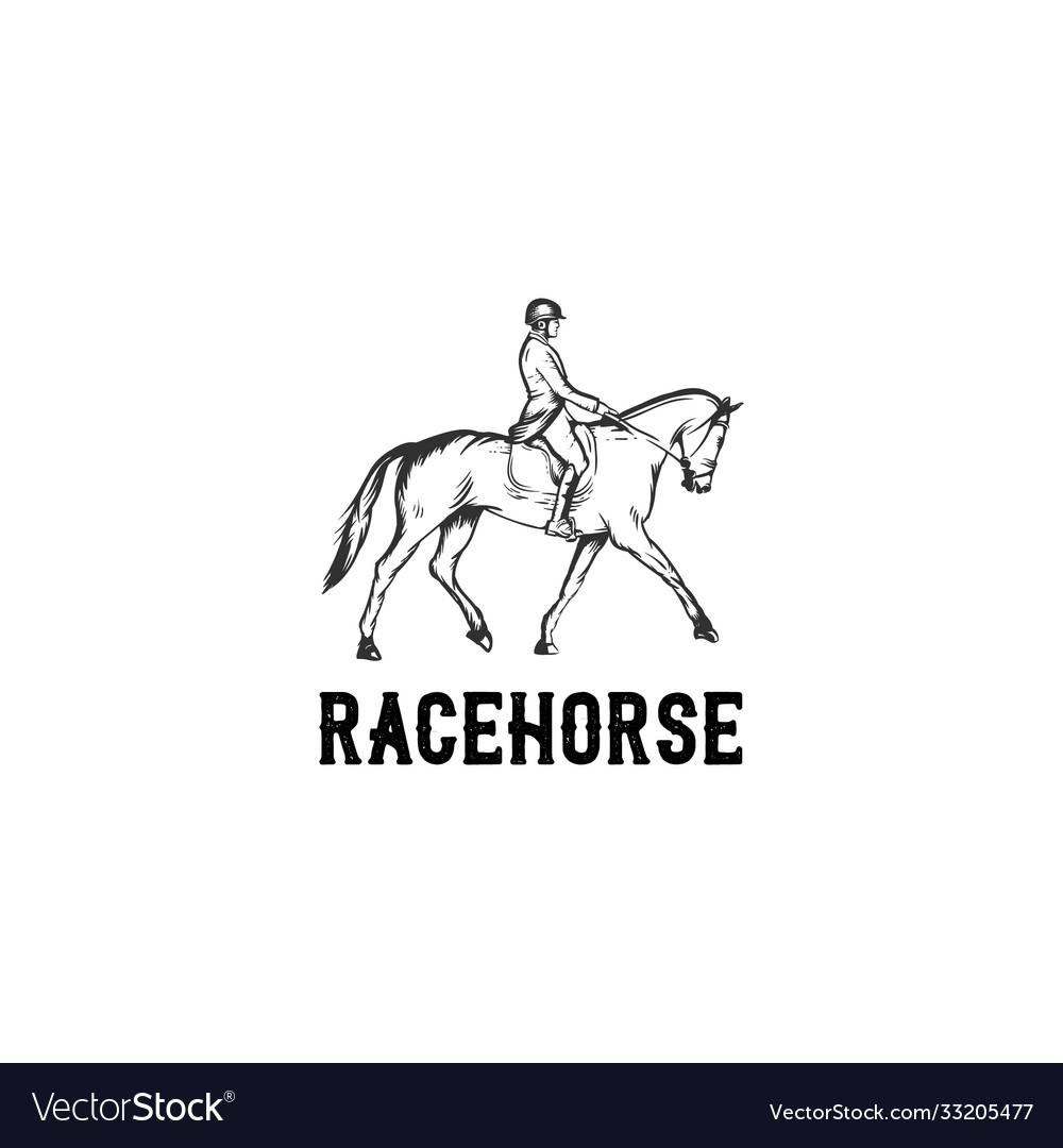 Race horse hand drawn