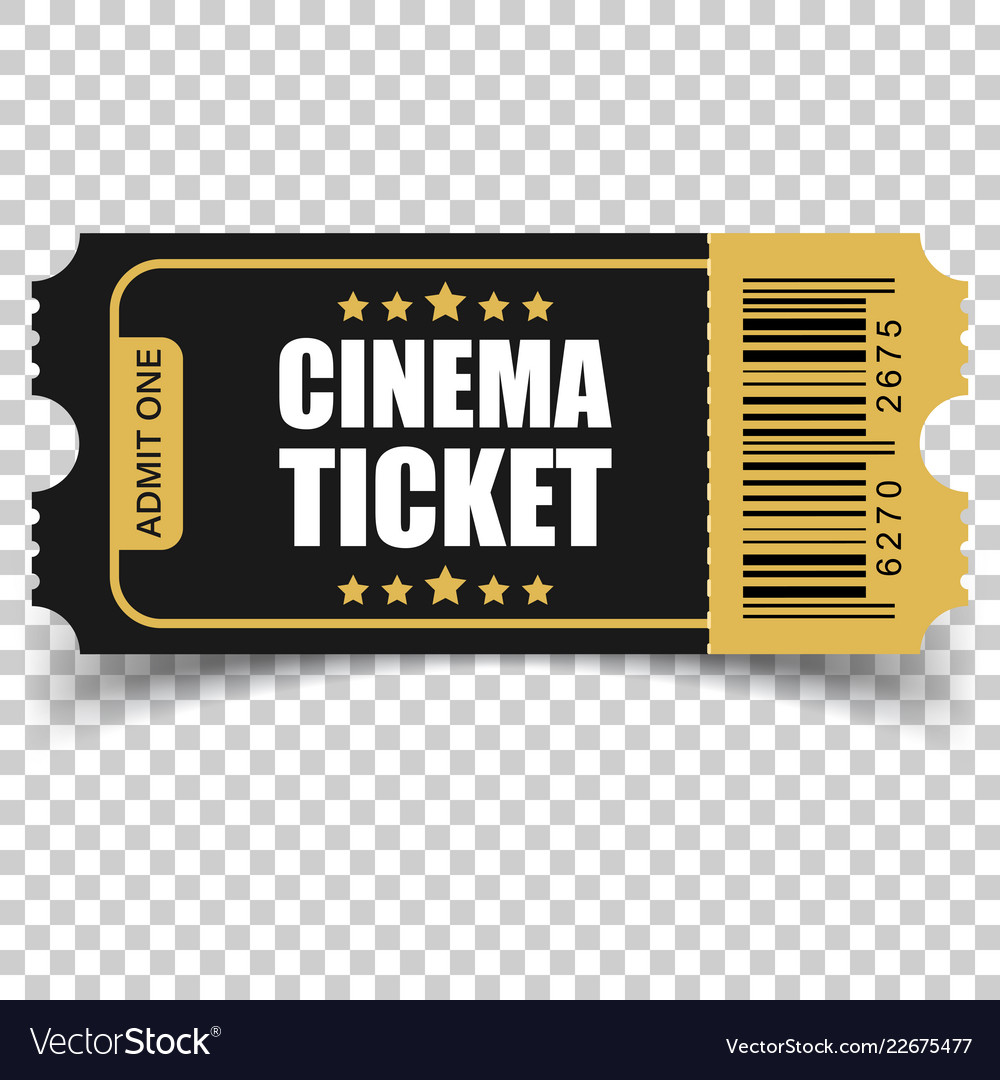 Realistic cinema ticket icon in flat style admit