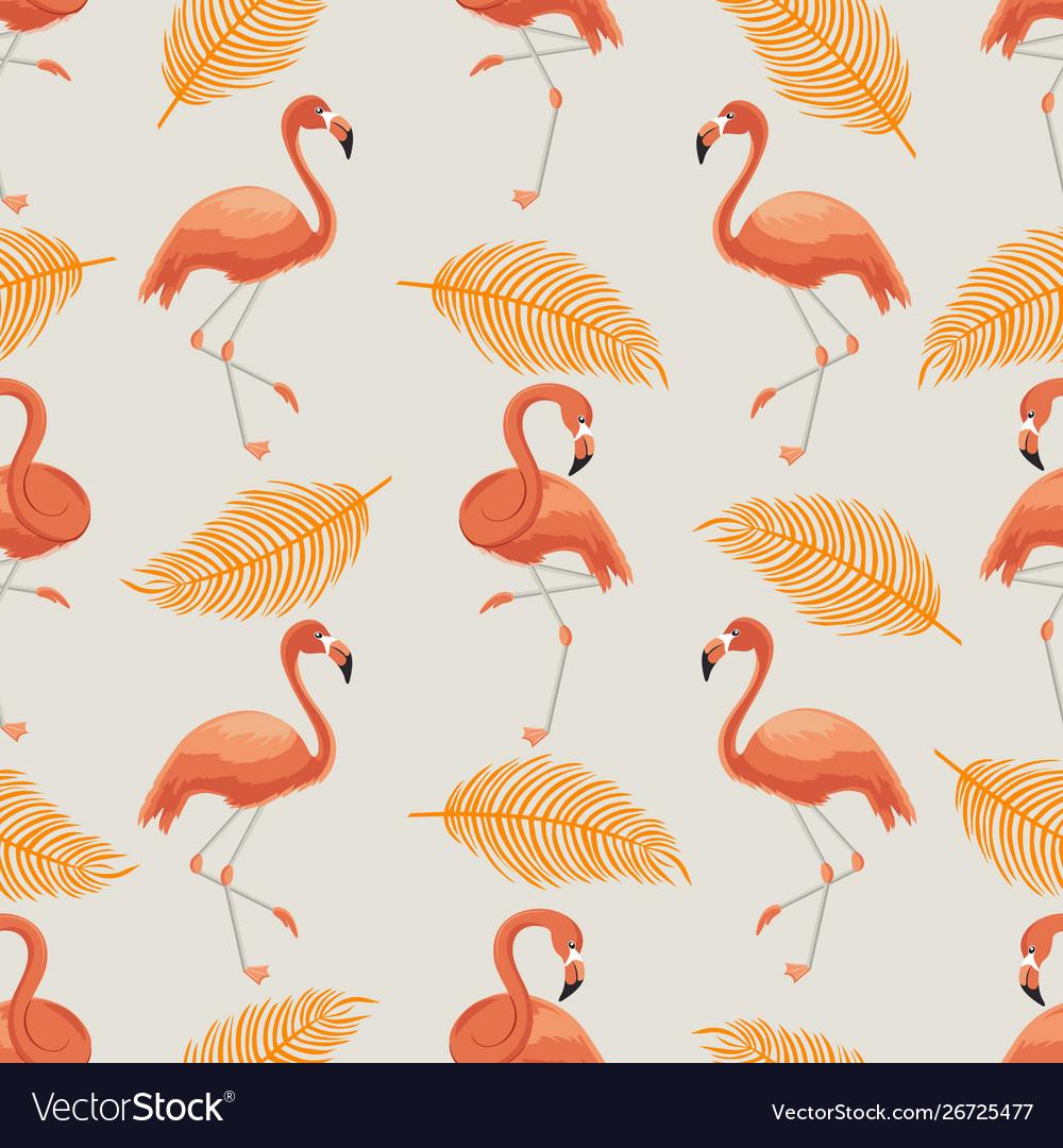 Seamless pattern orange flamingos and leaves