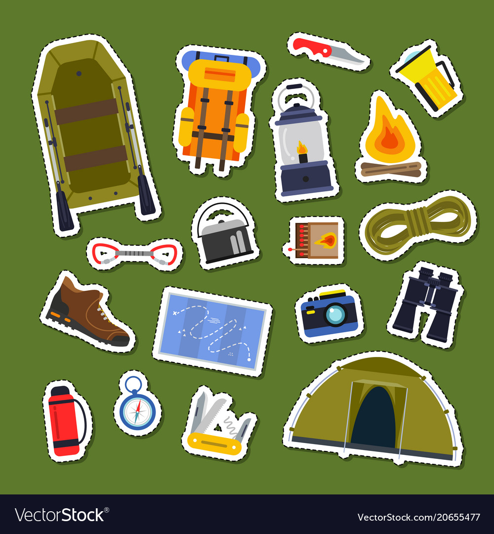 Set of flat style camping elements stickers