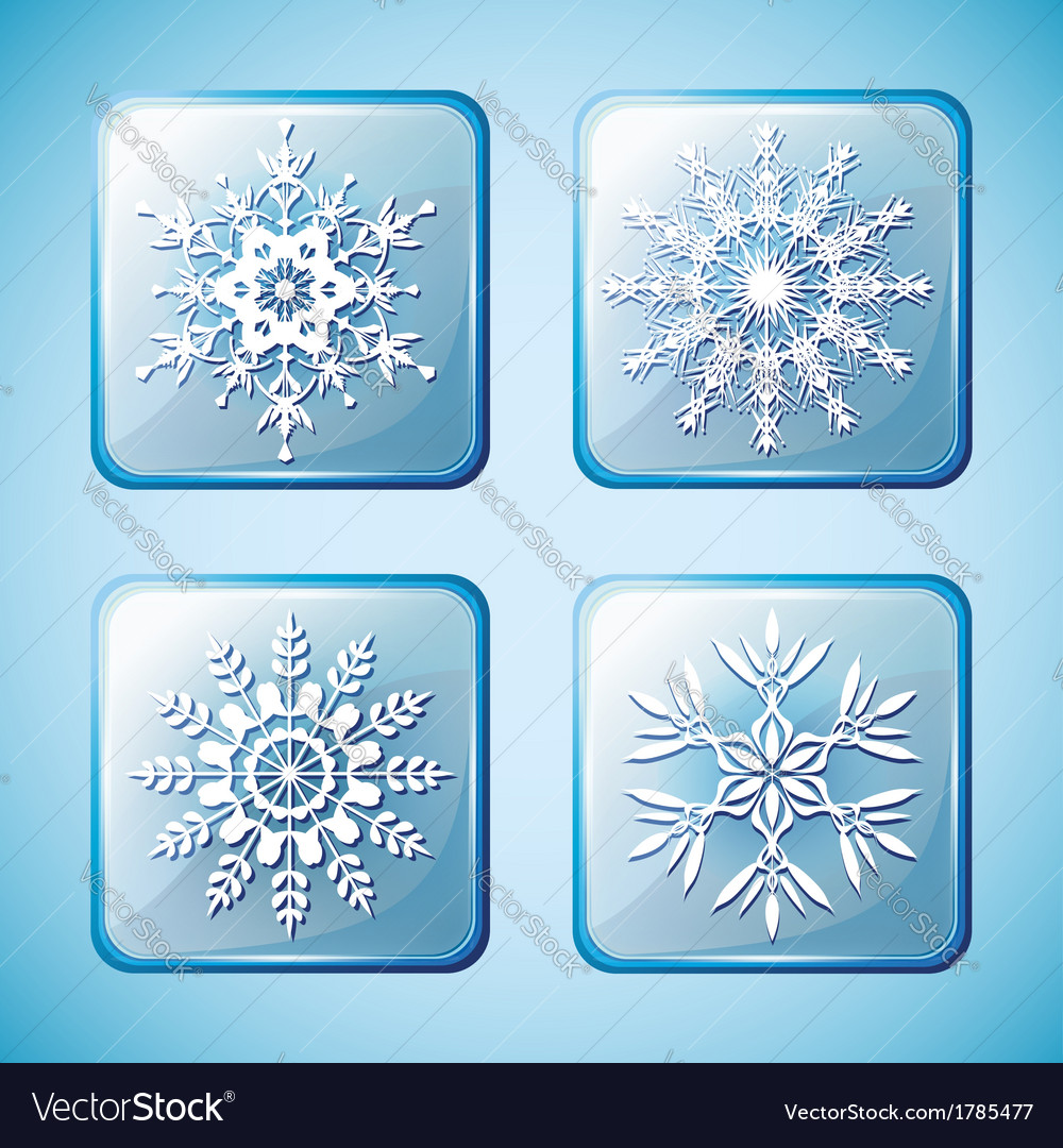 Set of winter icons with snowflakes