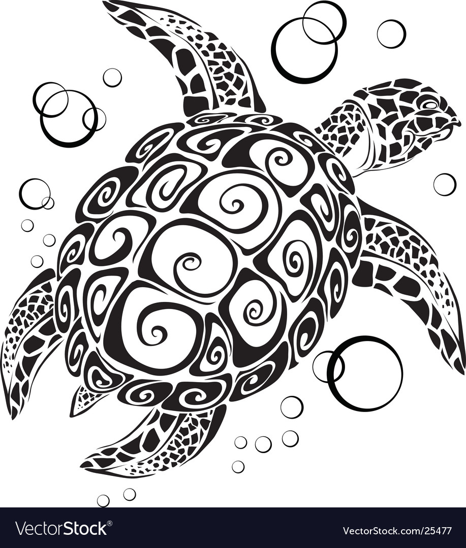 Turtle a silhouette vector image