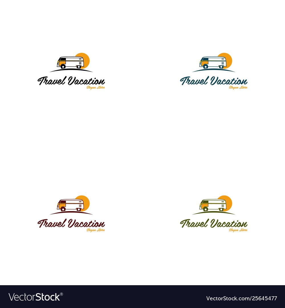 Van travel vacation creative logo vector image