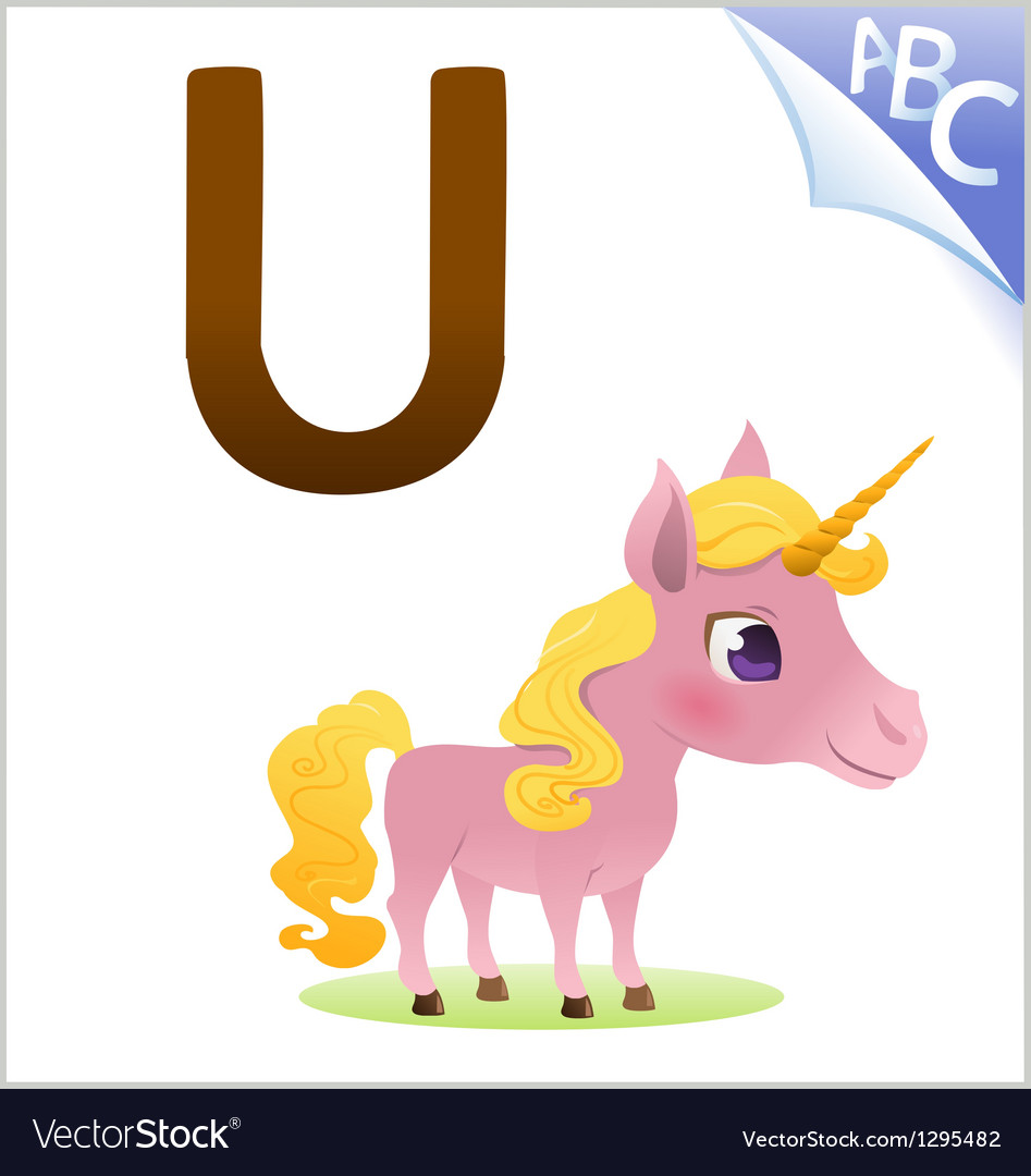 Animal alphabet for the kids U for the Unicorn