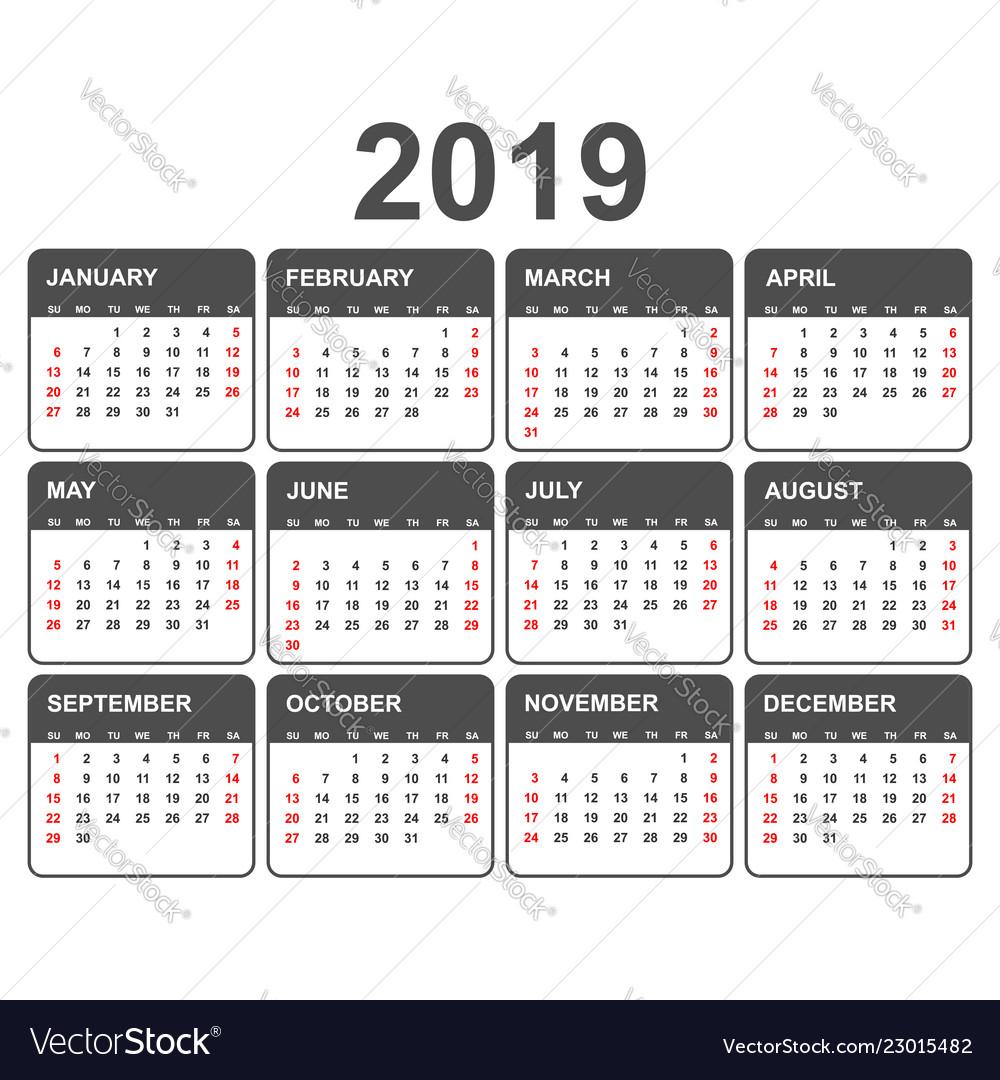 Calendar 2019 year in simple style calendar