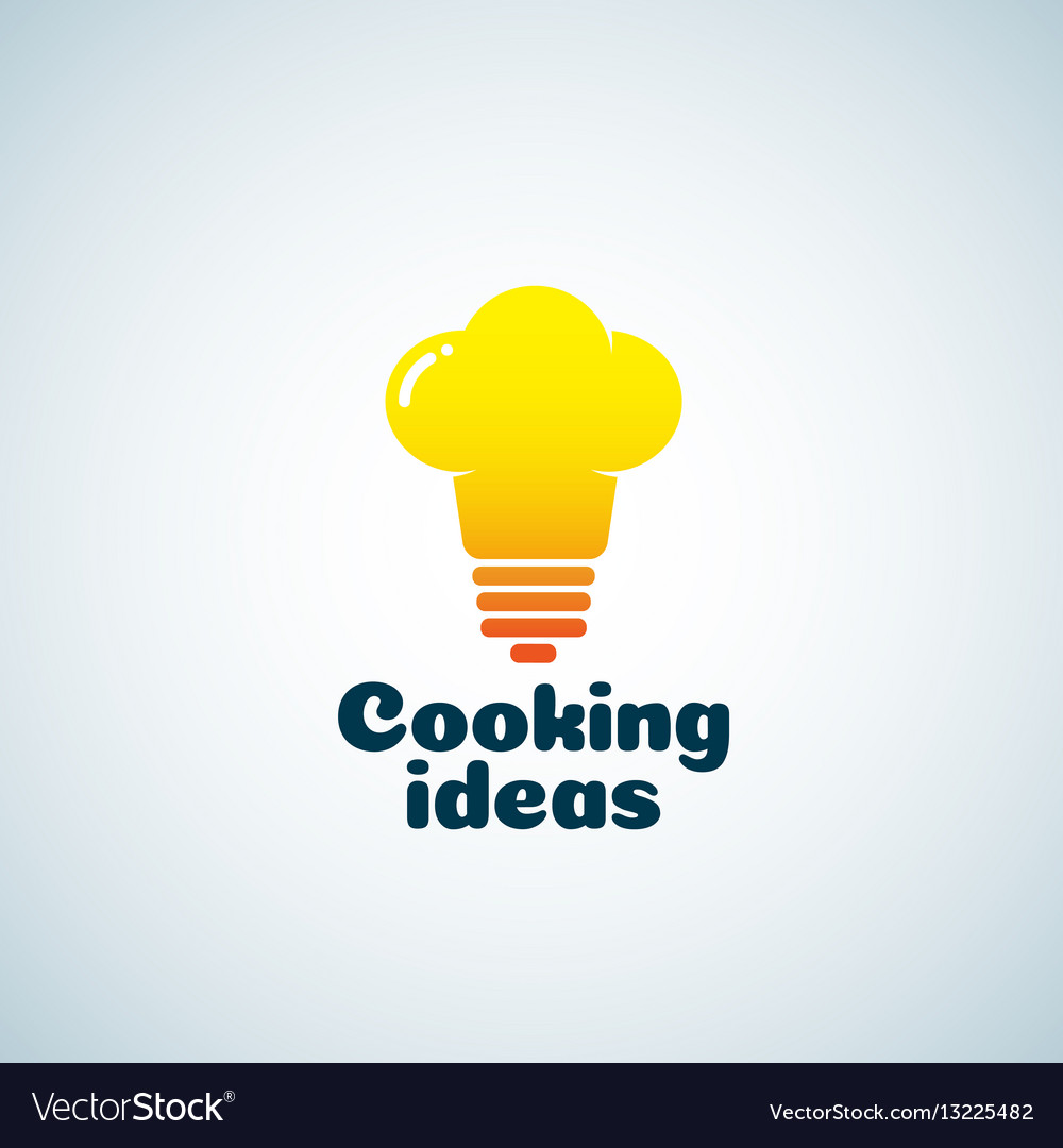 Cooking ideas abstract sign emblem or logo vector image