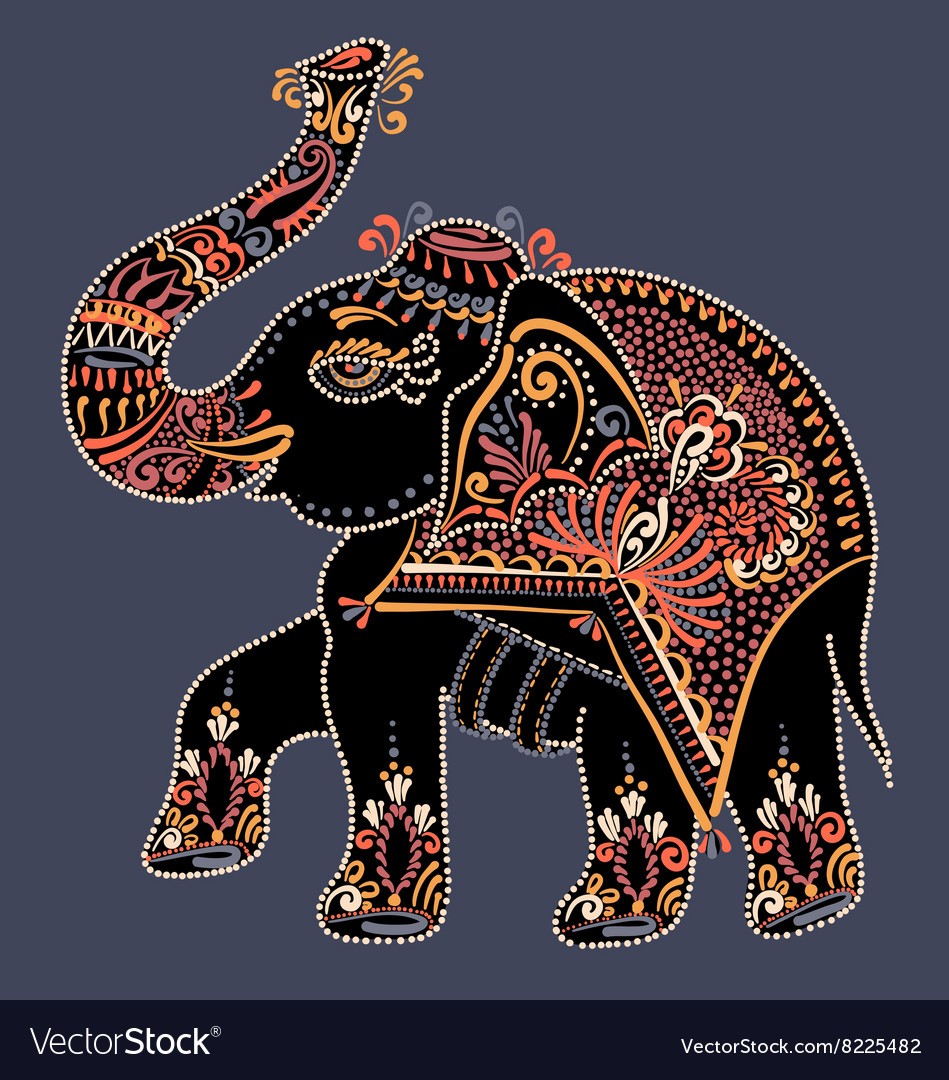 Folk art indian elephant dot painting vector image