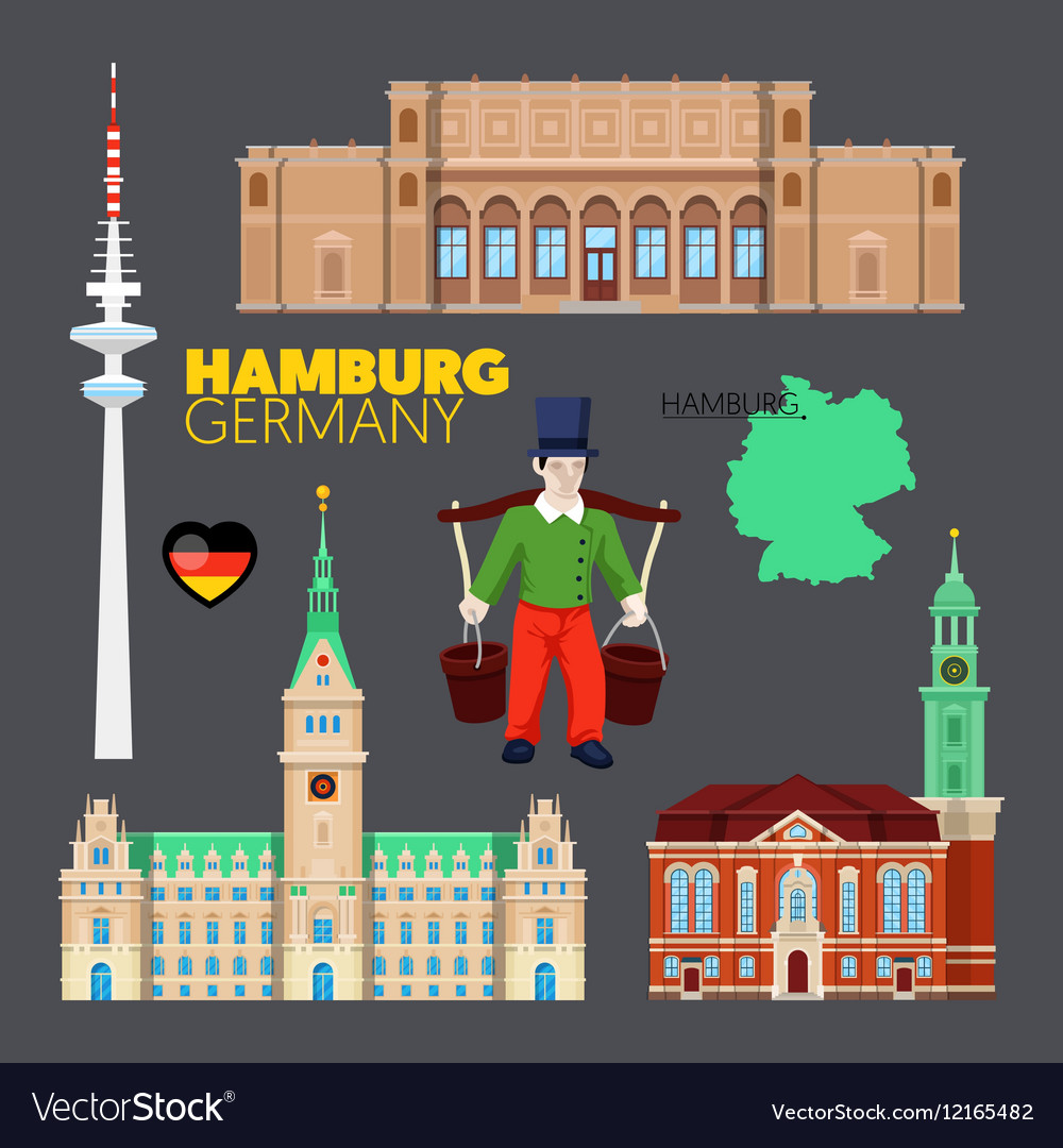 Hamburg germany travel doodle with architecture