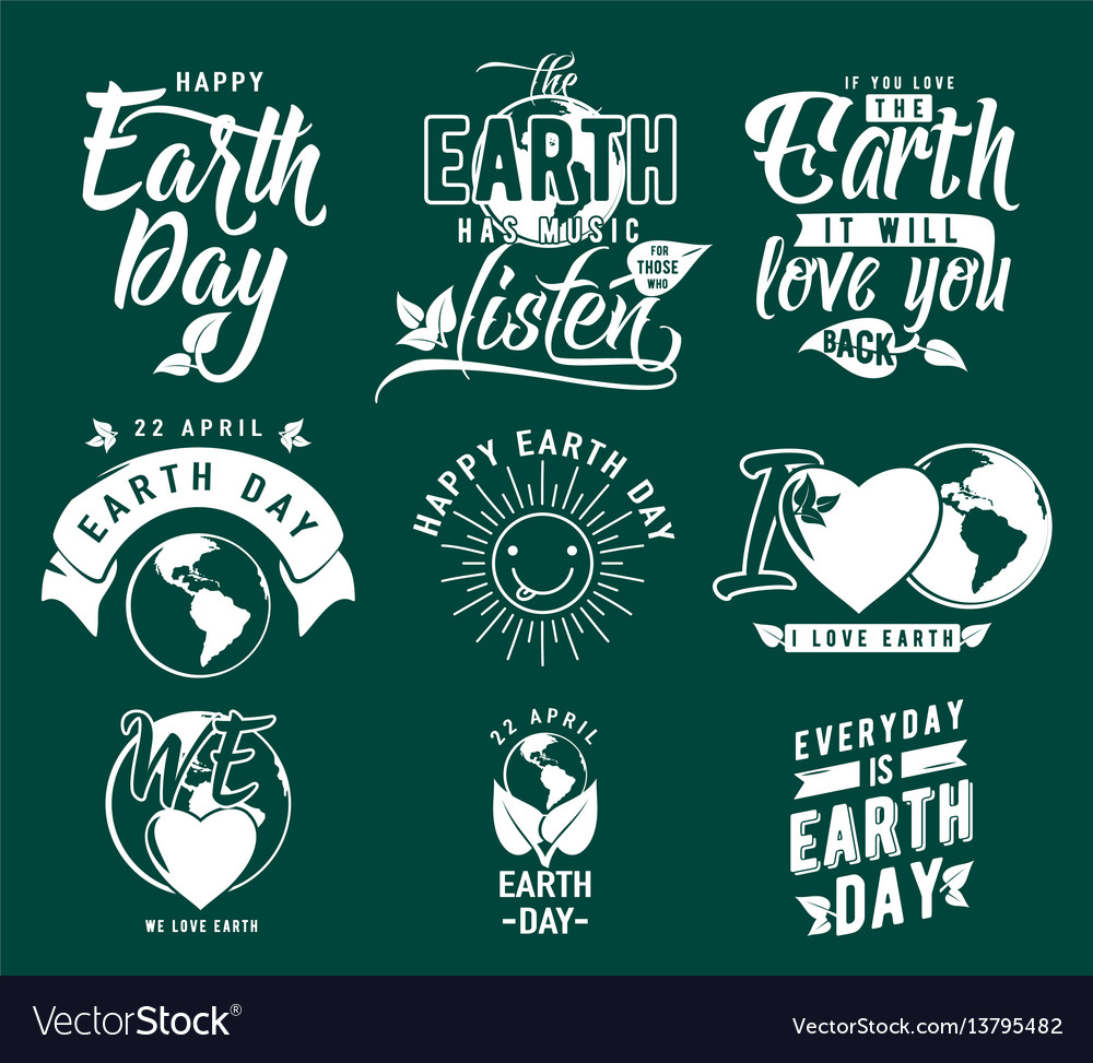 Happy earth day element set