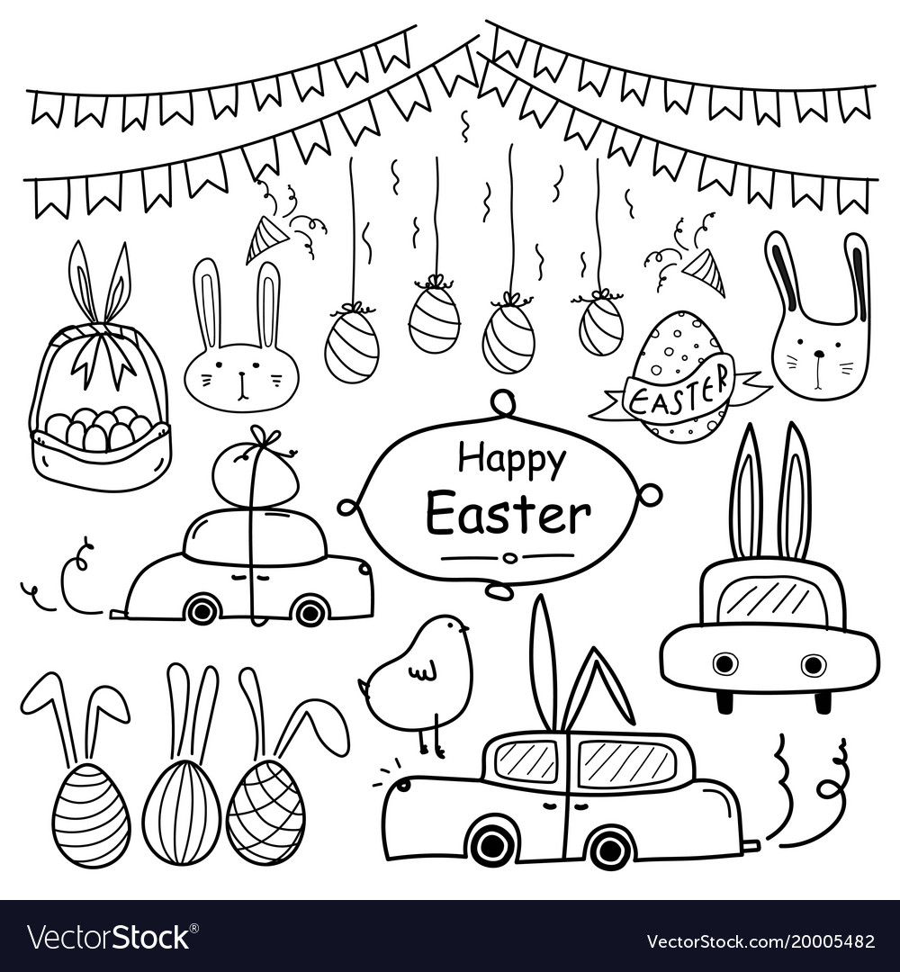 Line hand drawn doodle happy easter day set