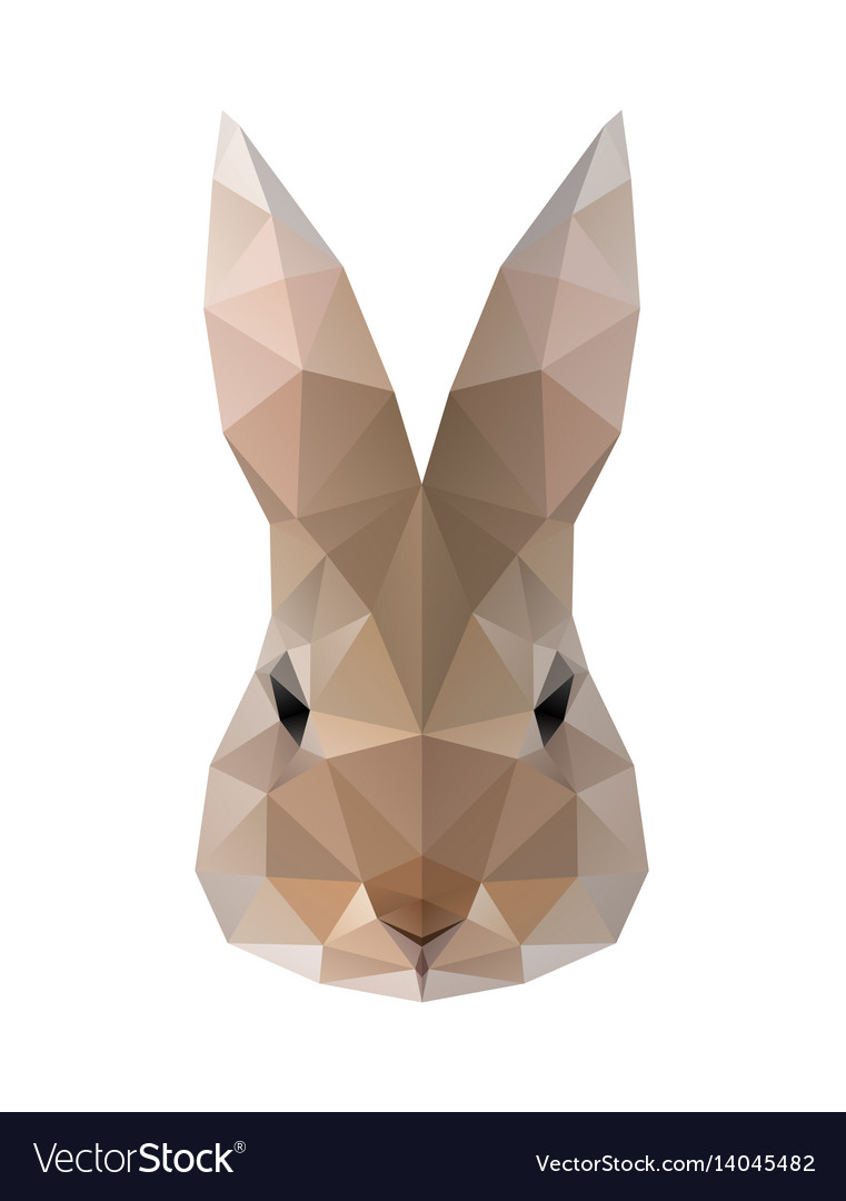 Low poly hare rabbit vector image