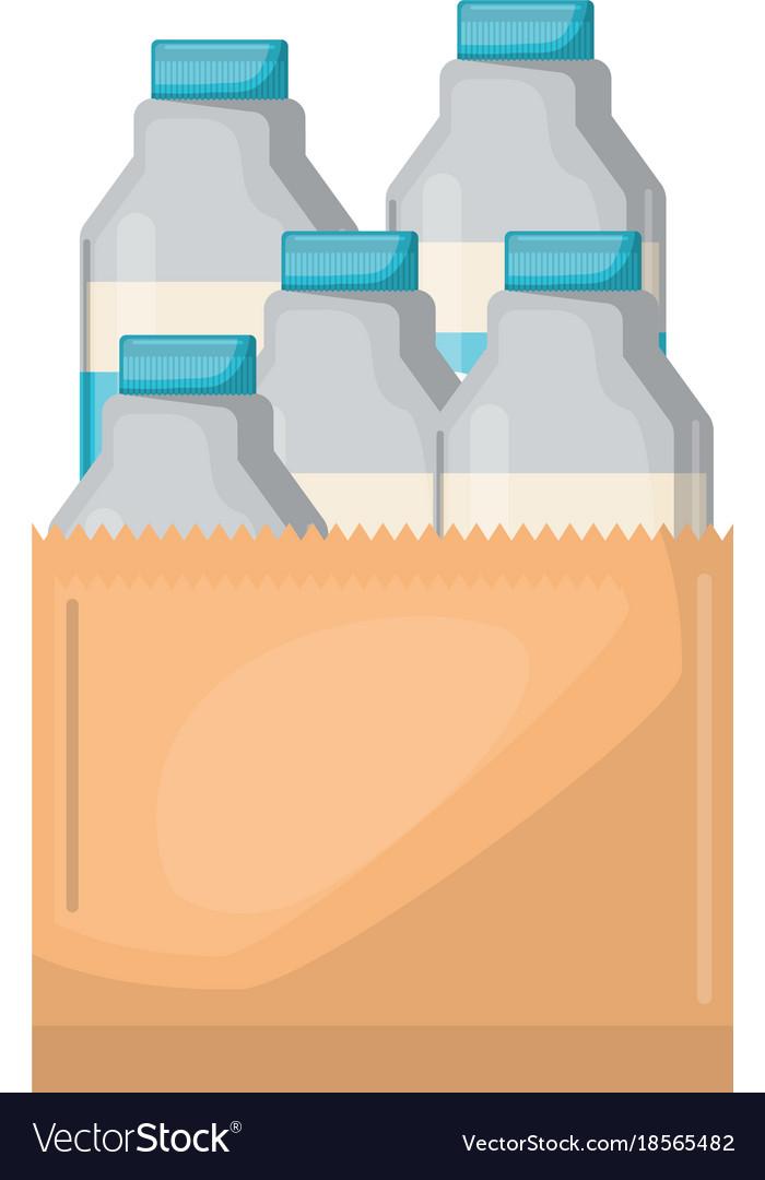 Paper Bag With Milk Bottles Vector Image