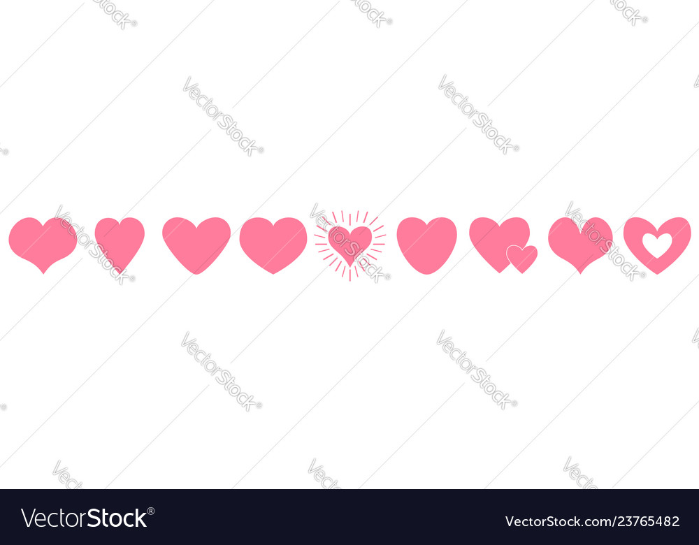 Pink heart line icon set happy valentines day