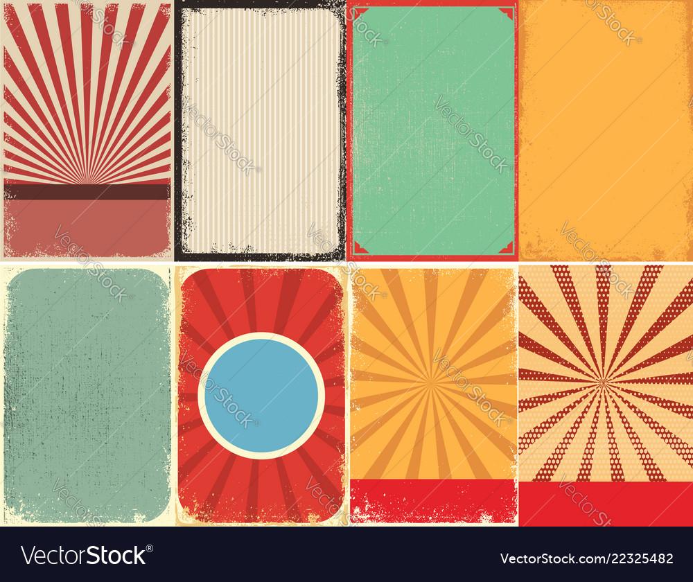 Set retro style grunge backgrounds design