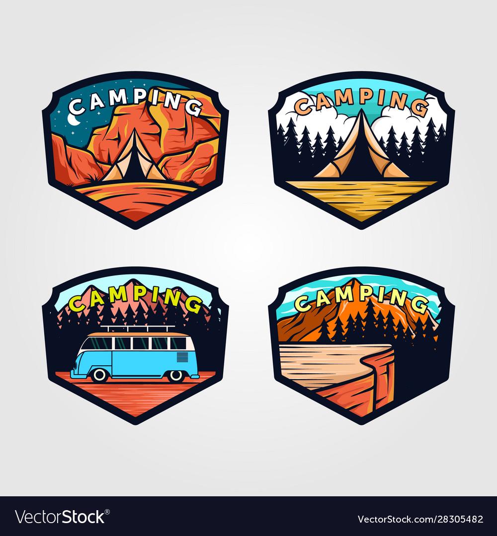 Set vintage camping logo outdoor adventure