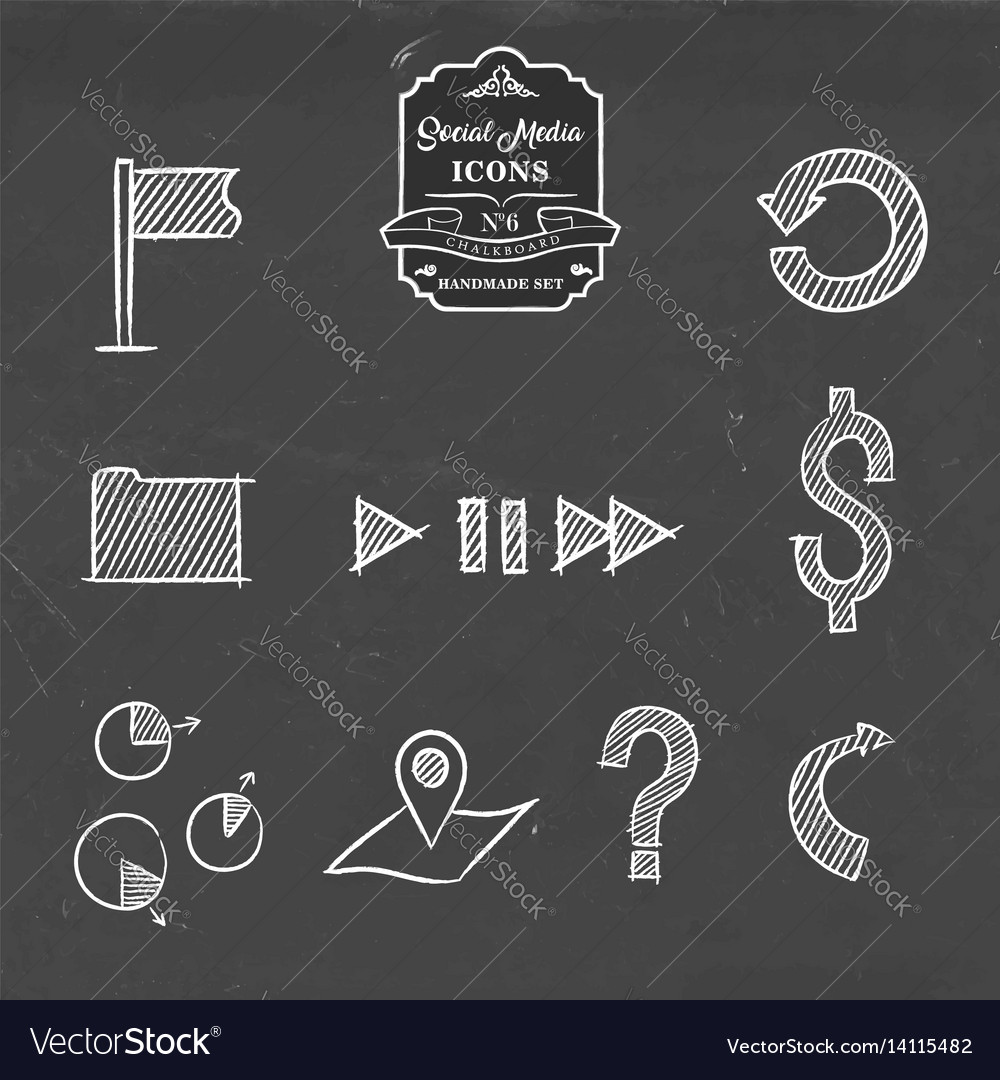 Social media and business hand drawn icon set