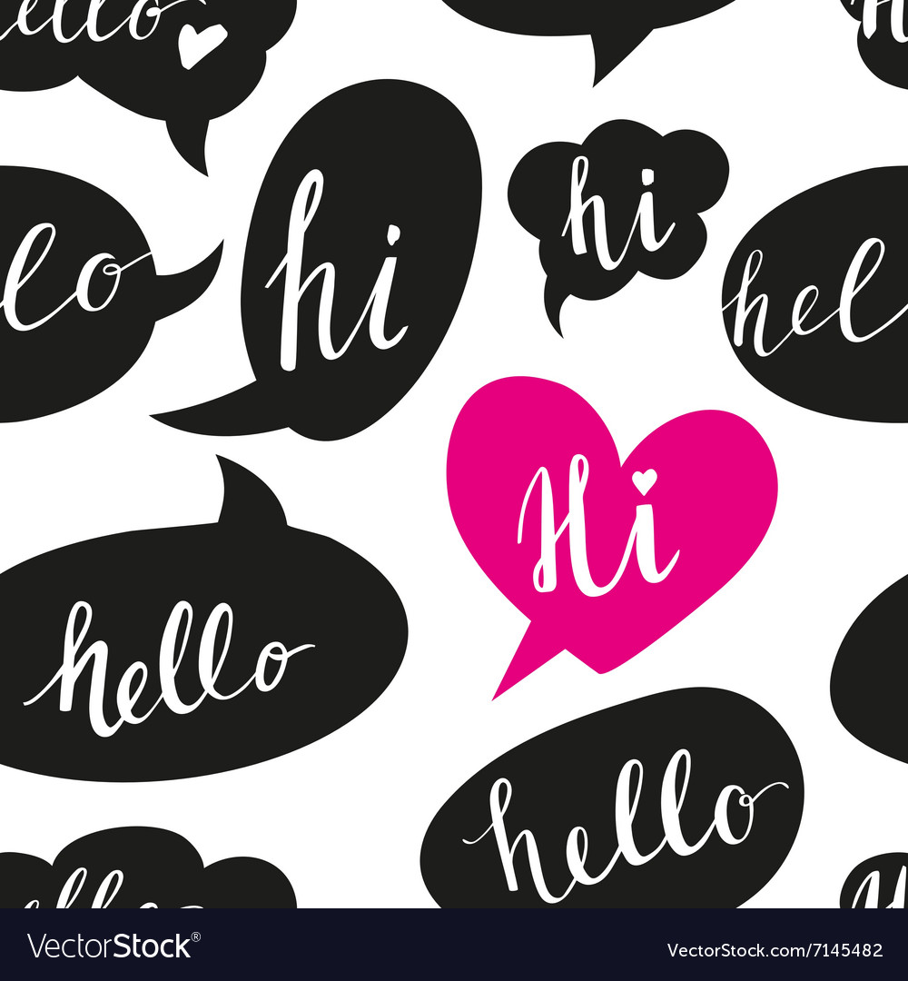 Speech bubbles with Hello word seamless pattern