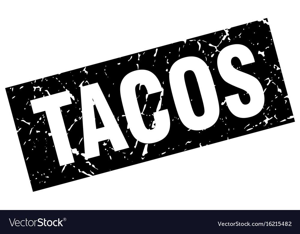 Square grunge black tacos stamp