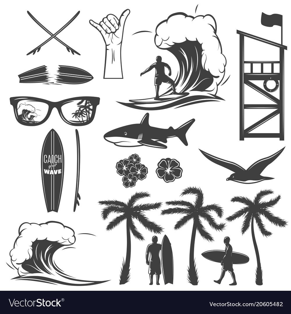 Surfing black icon set