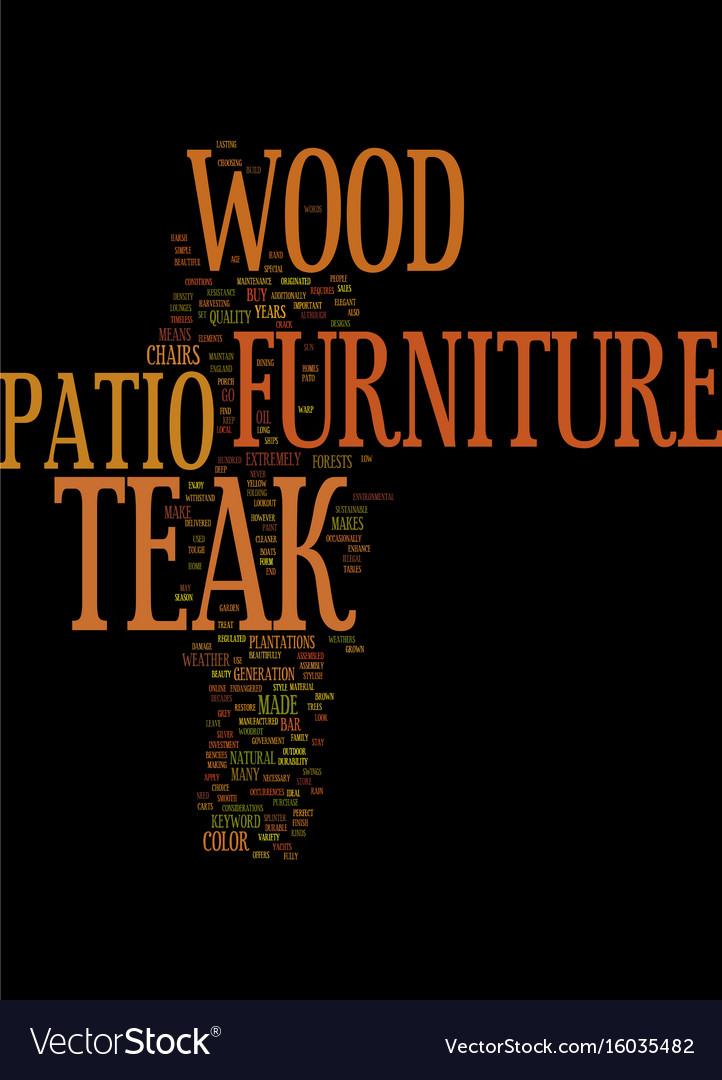 Teak Wood Patio Furniture Text Background Word
