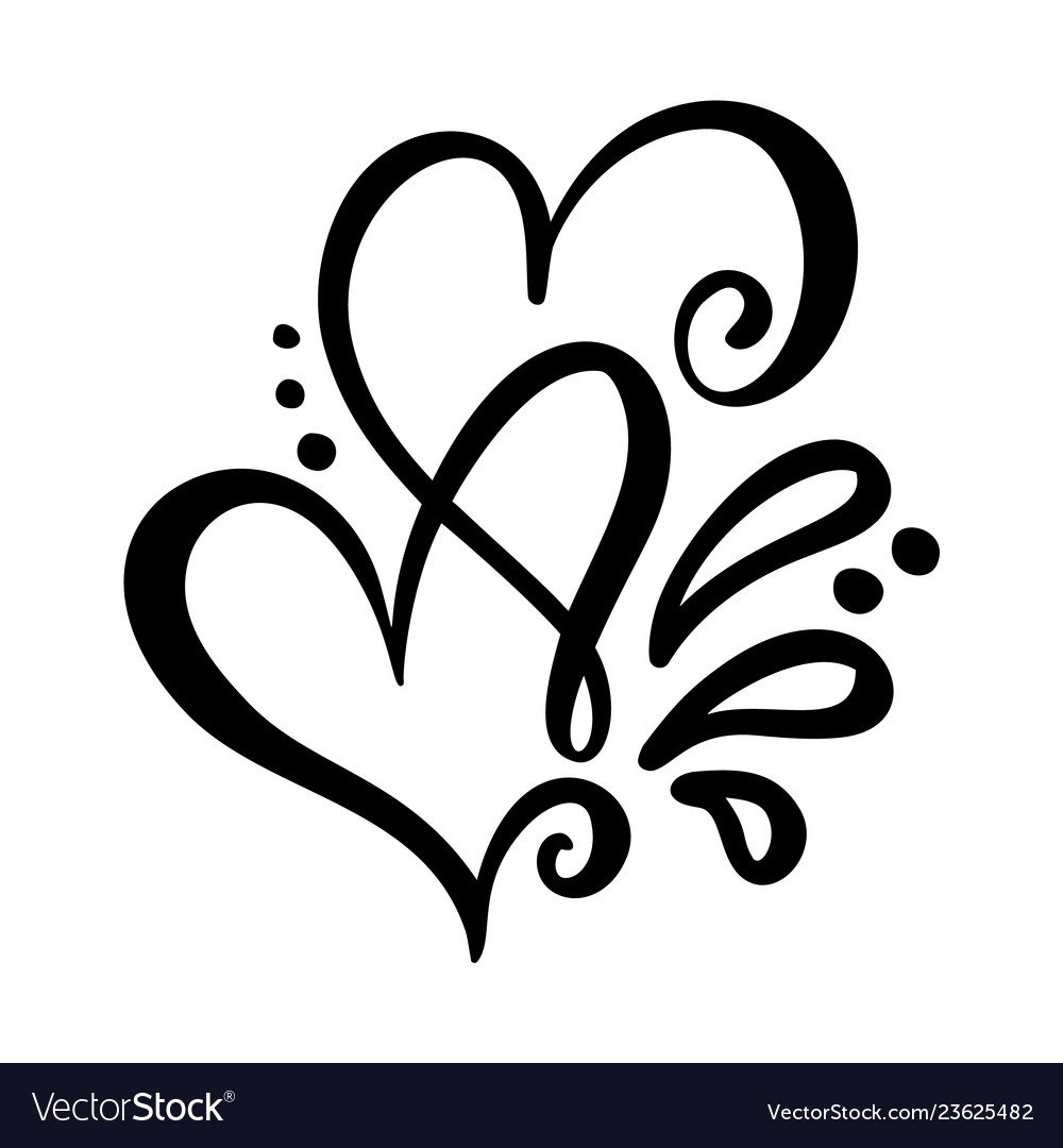 Two lover calligraphic hearts handmade