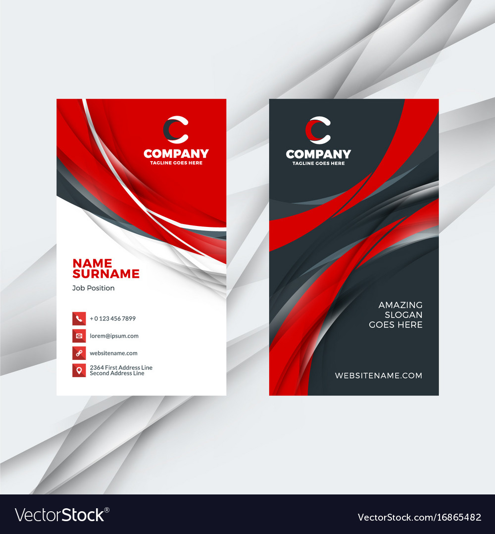 Vertical double-sided red and black business card Vector Image