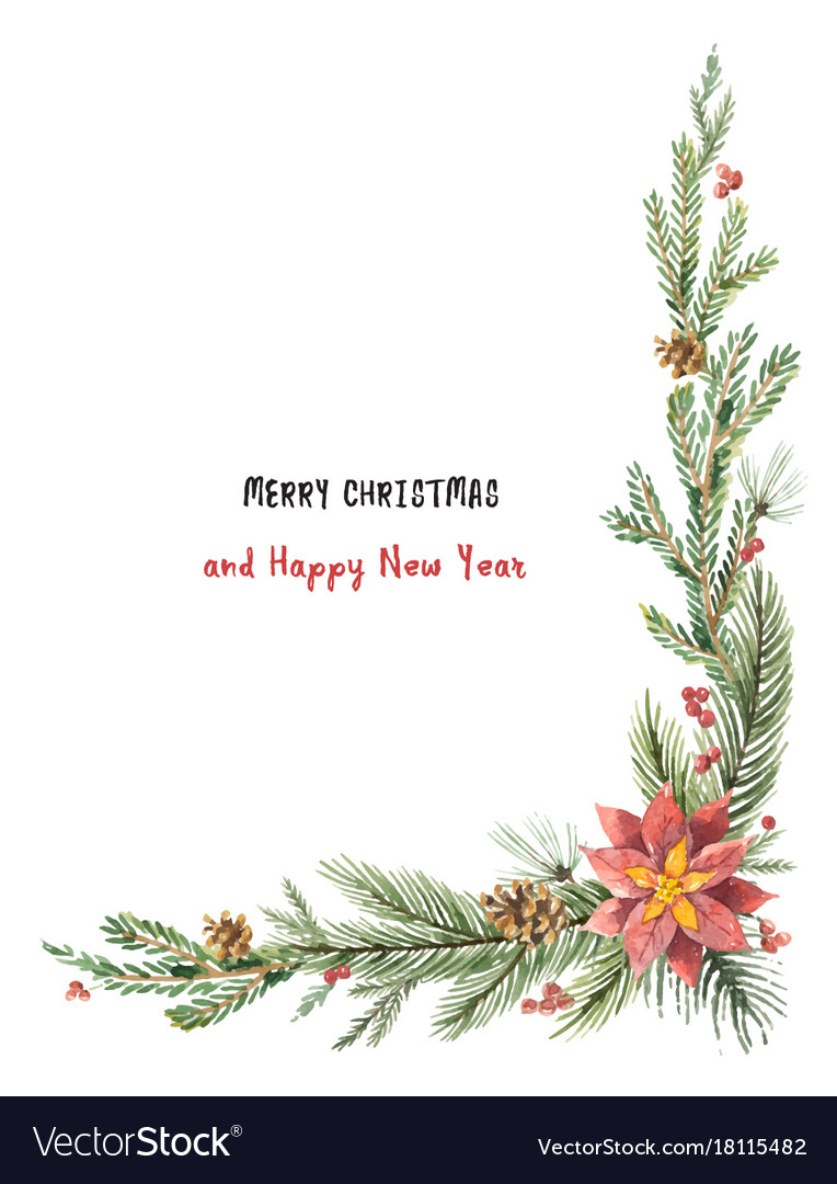 Watercolor christmas decorative corner with vector image