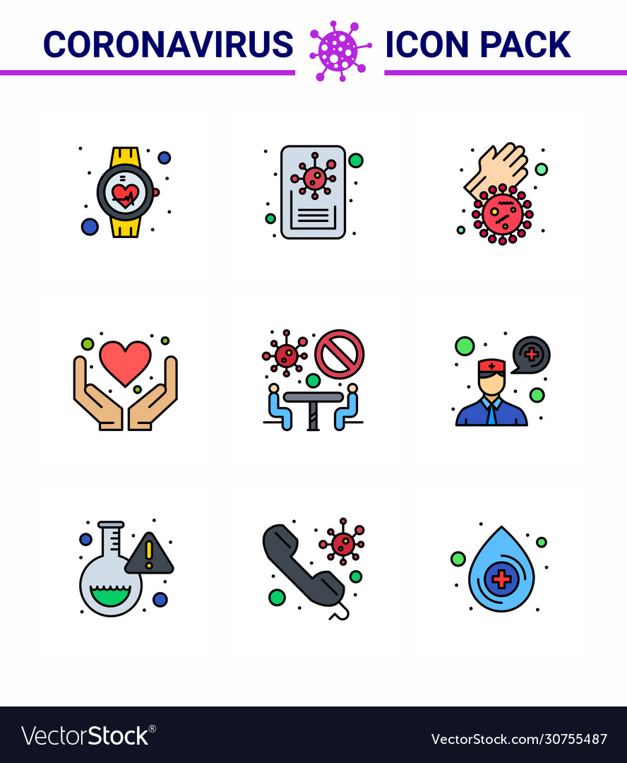 9 filled line flat color coronavirus covid19 icon