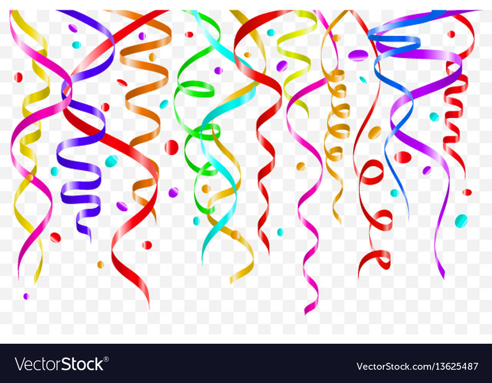 birthday white background with curling streamers vector image