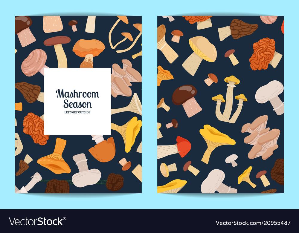 Card or flyer set with cartoon mushrooms