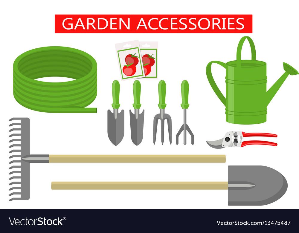 Gardening work tools flat icons set gardening