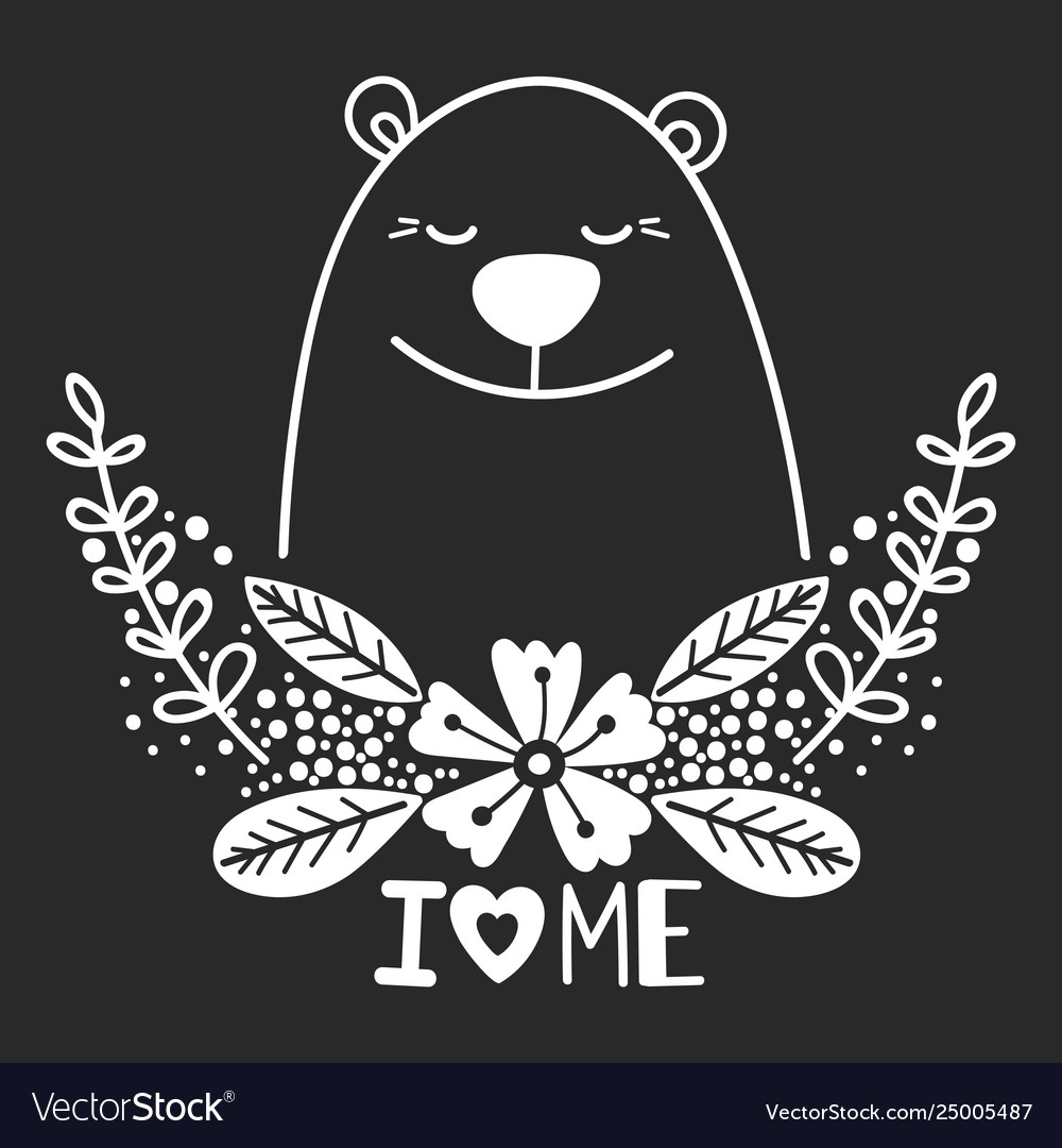 Happy white bear with floral elements and