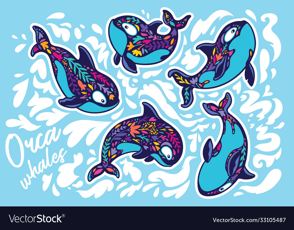 Orca whales surrounded waves sticker set