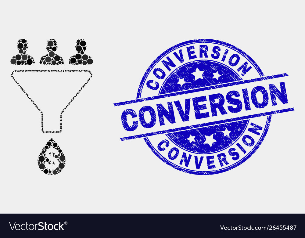 Pixelated sales funnel icon and scratched