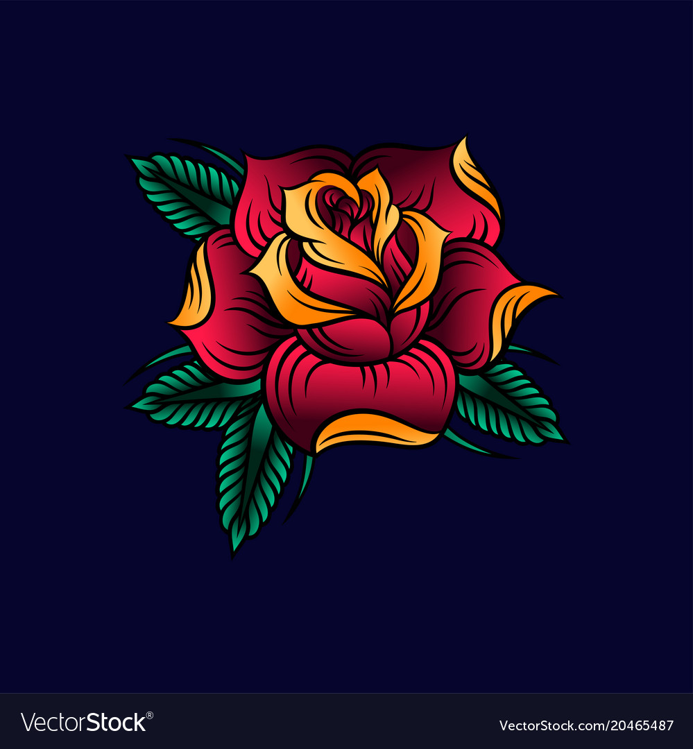 Red rose with green leaves on