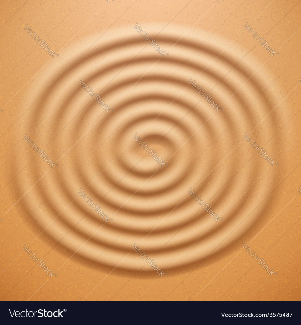 Ripple spiral drawing on the sand Royalty Free Vector Image