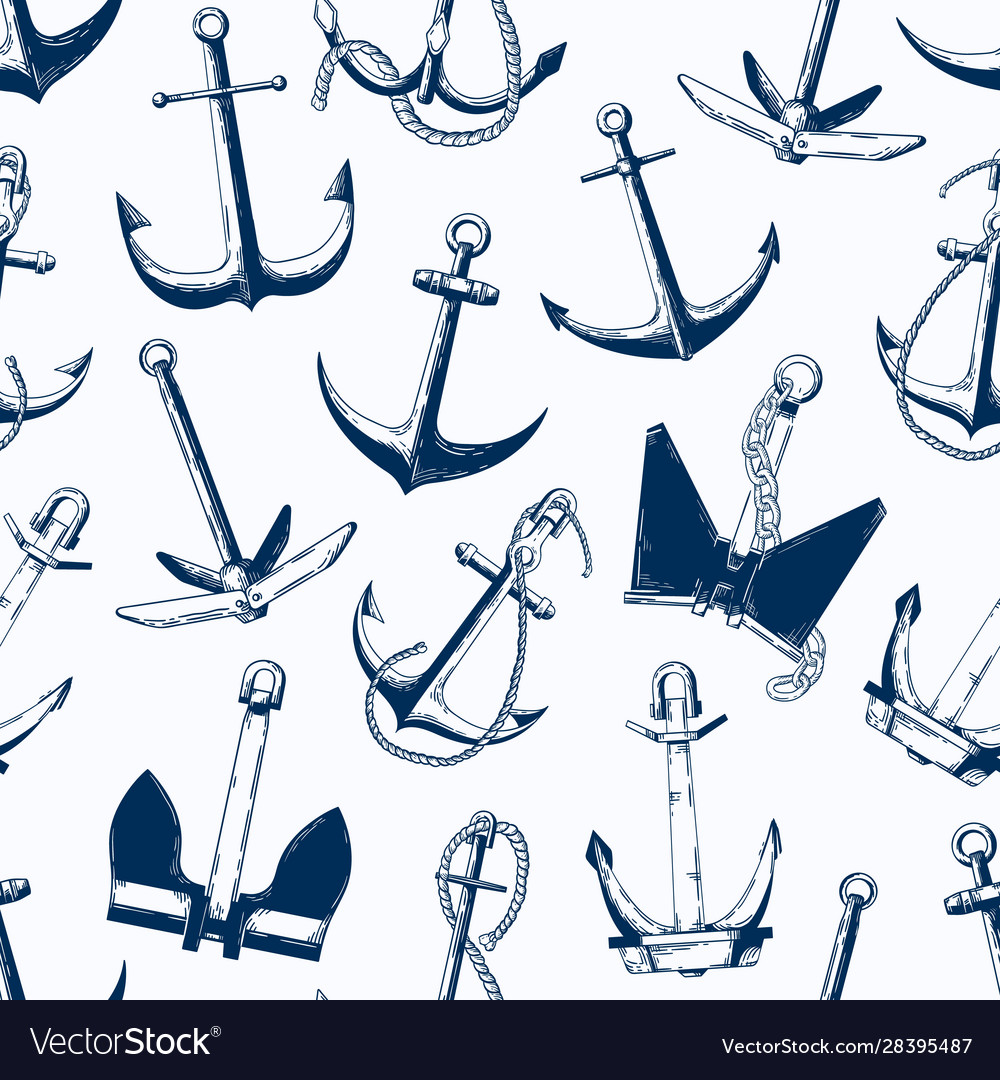 Sea anchors seamless pattern different
