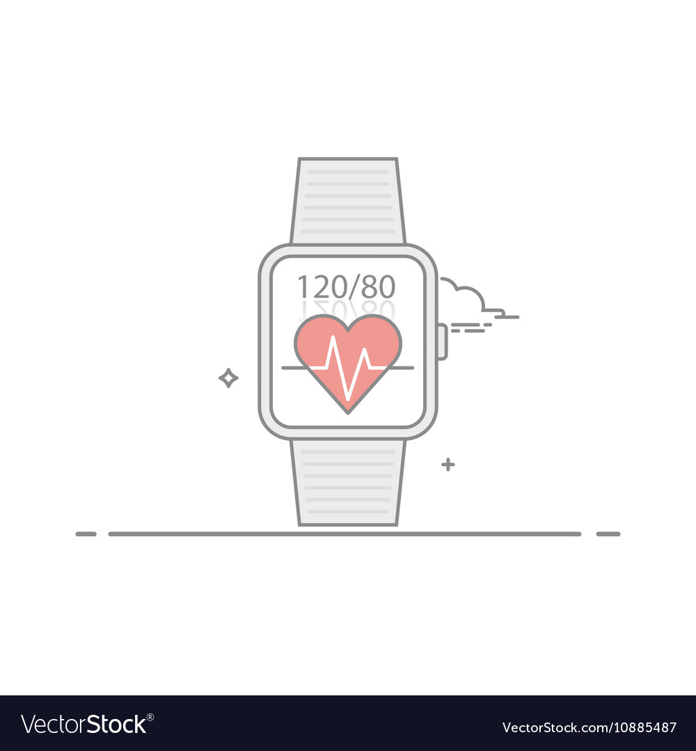 Smart watch Follow health indications Pulse and vector image