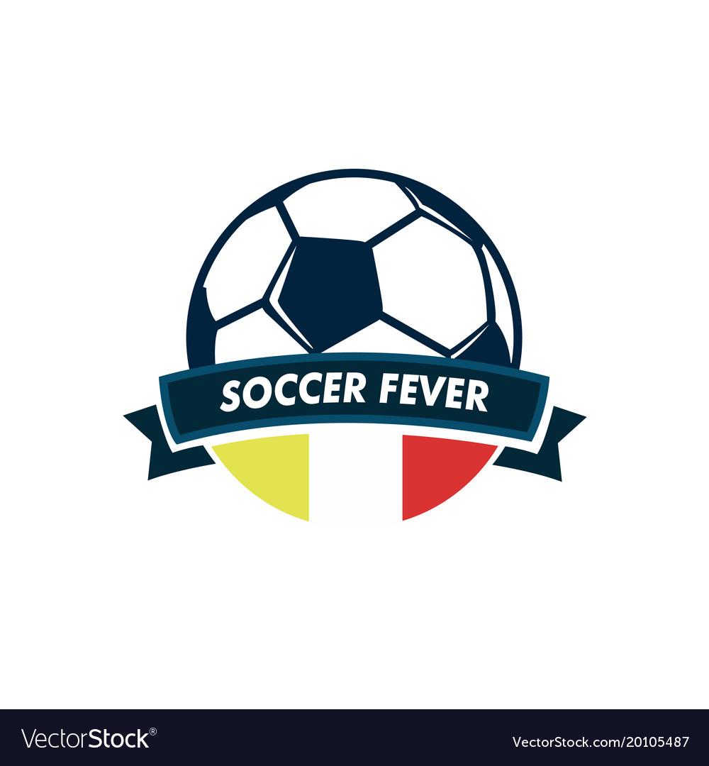 Soccer fever ball ribbon footbal club emblem