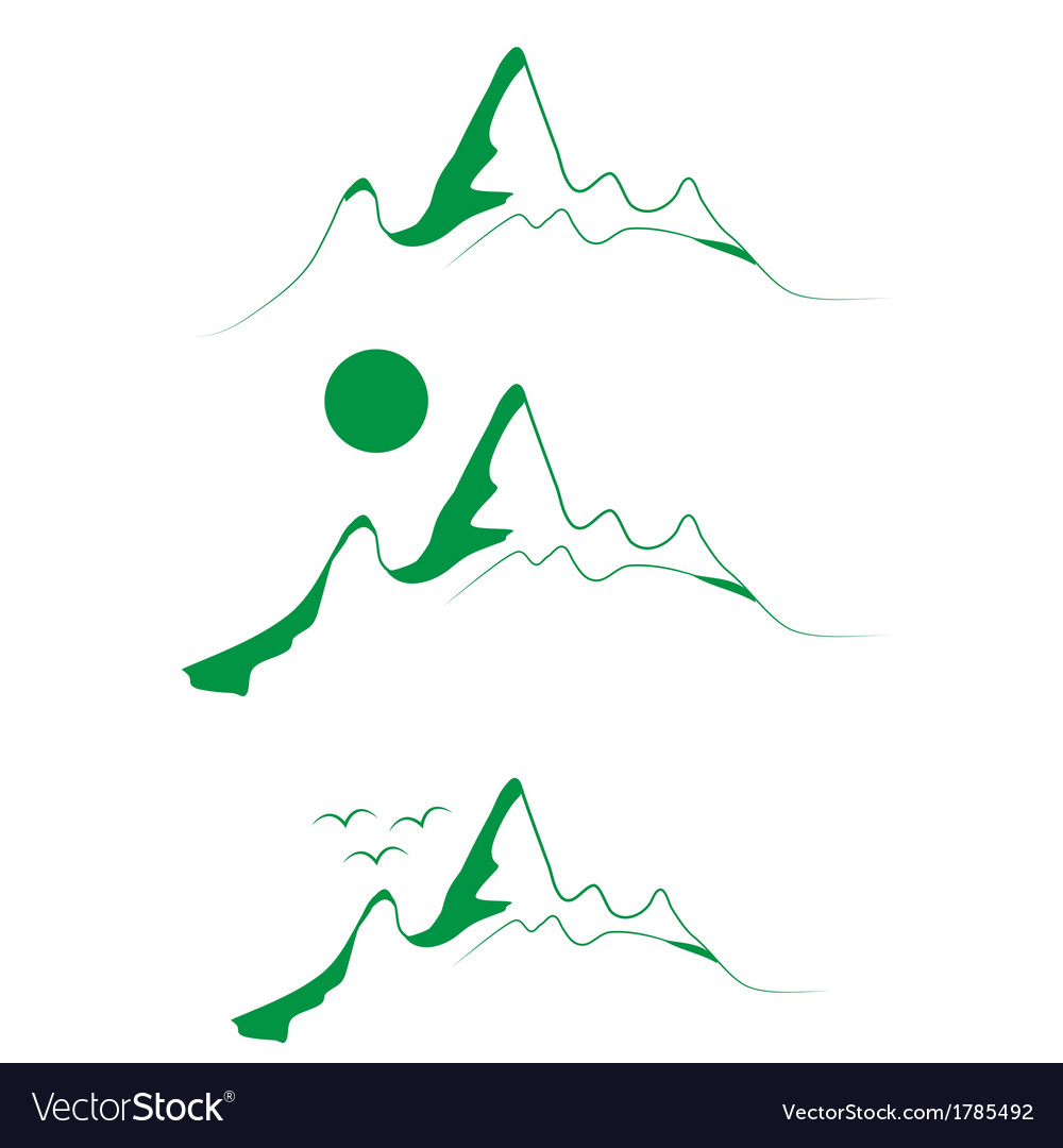A set of emblems green mountains with tree