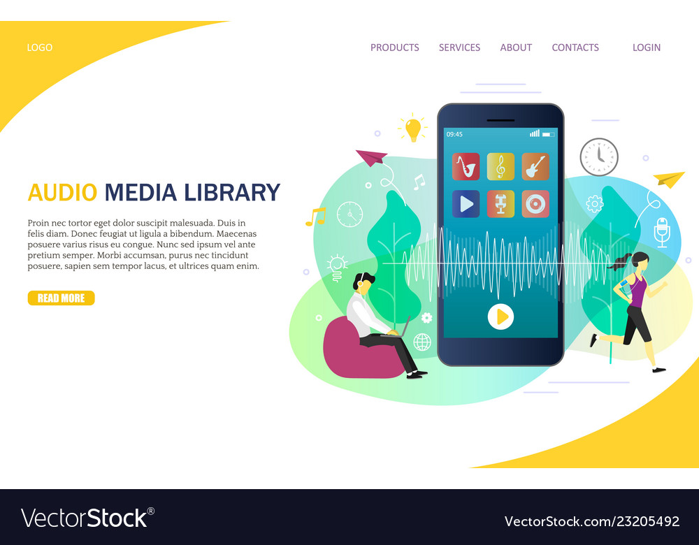 Audio media library landing page website